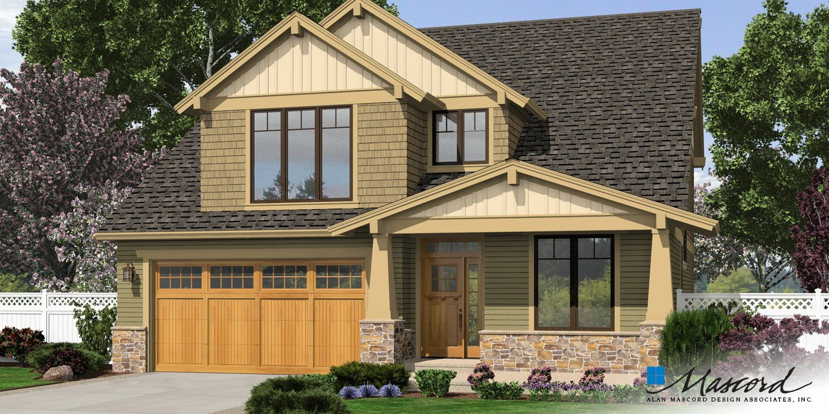 Mascord house plan 2230cd the olympia for Narrow lot modern modular homes