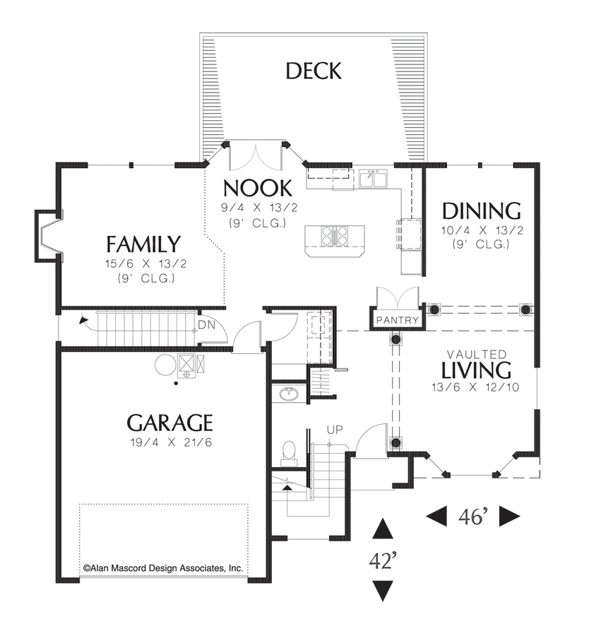 Transitional house plan 2244bd the bromley 2993 sqft 4 for House plans for steep sloping lots