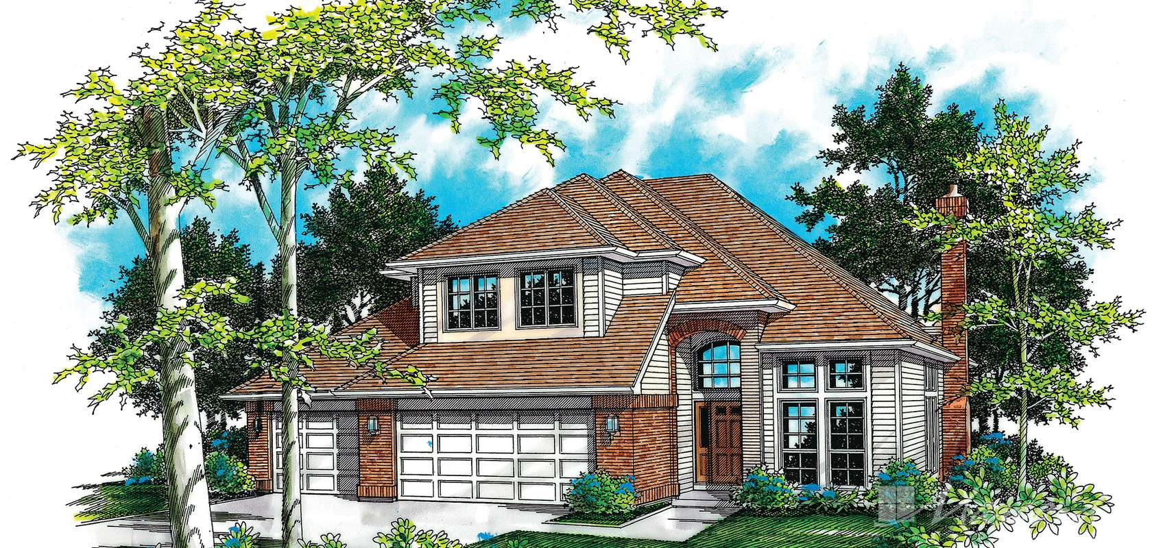 Mascord House Plan B2258B-3 Car: The Lotus