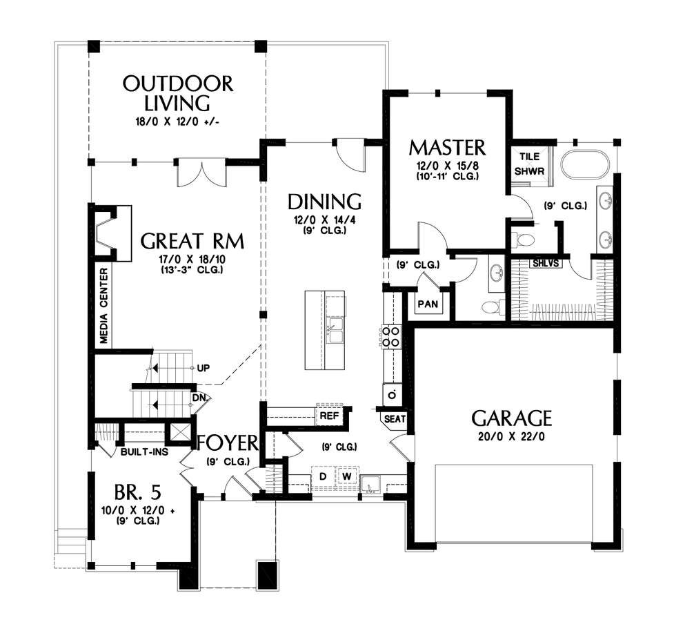 Image for Springlake-Popular Craftsman with Apartment Below-Main Floor Plan