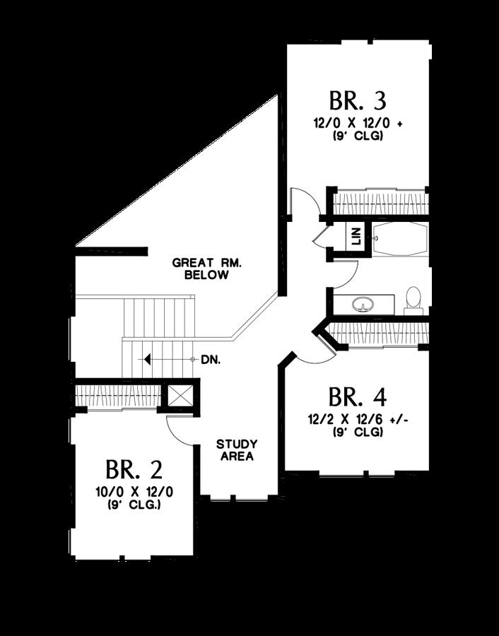 Image for Springlake-Popular Craftsman with Apartment Below-Upper Floor Plan