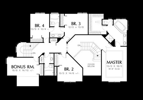 Image for Rosenfeld-Four Bedrooms Plus Bonus on Upper Level-Upper Floor Plan