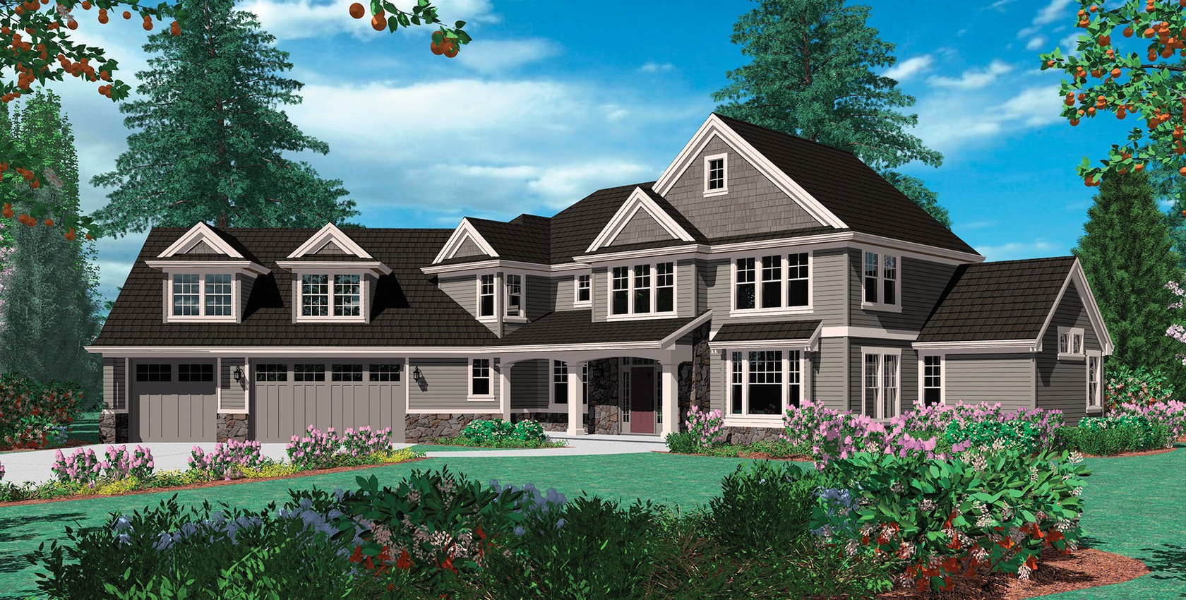 Mascord house plan 2346 the kaiser for House plans with great room in front