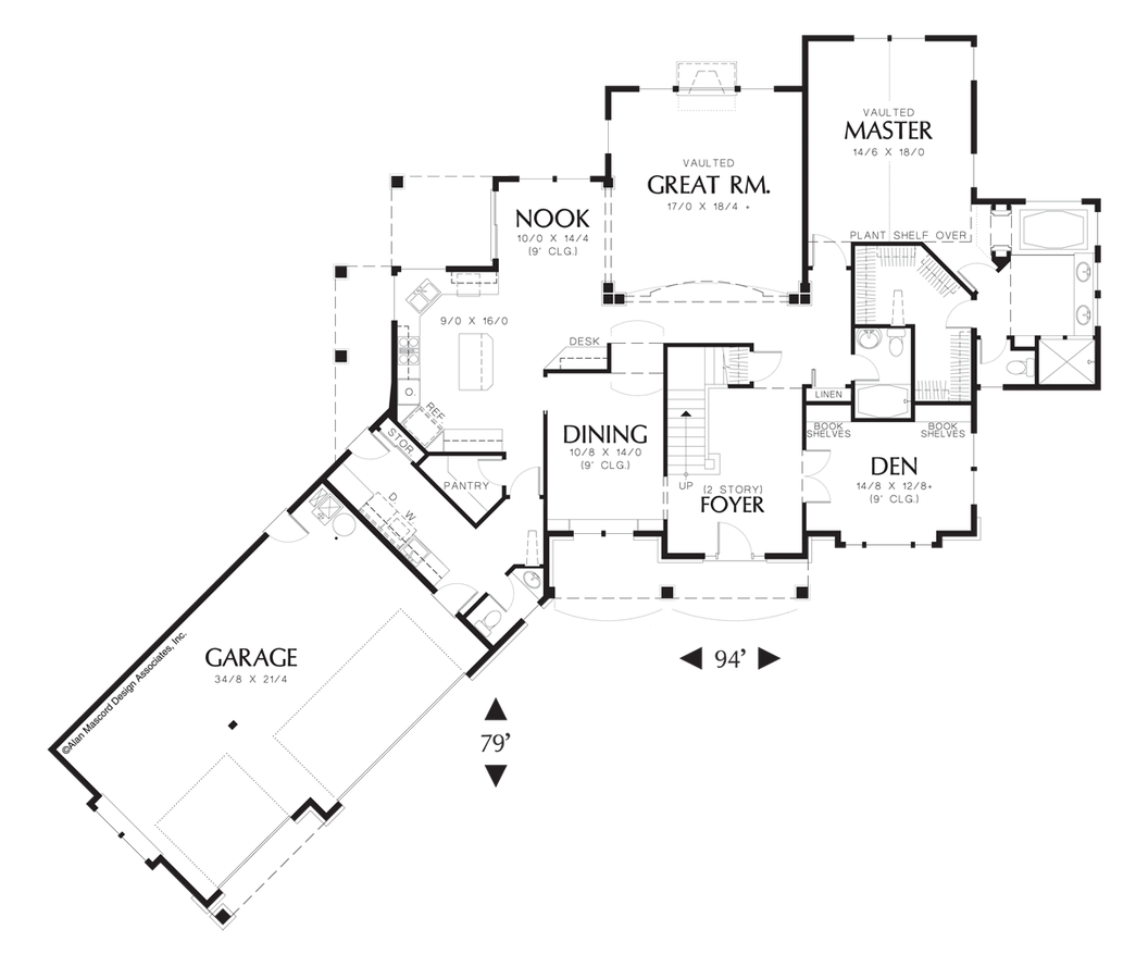 Image for Kaiser-2 Story Great Room Plan with Angled Garage-Main Floor Plan