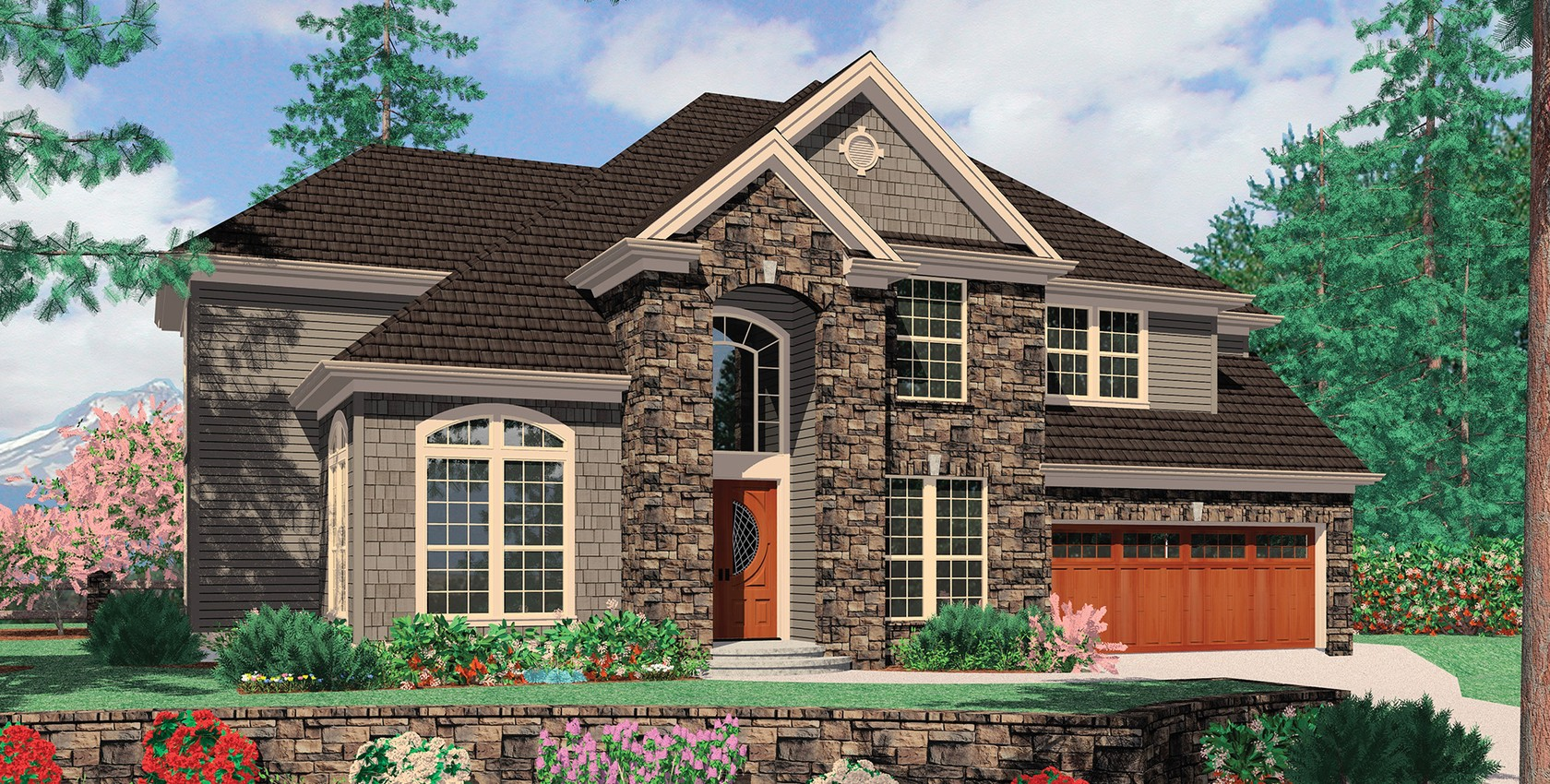 Mascord house plan 2368 the sedgwick for House plans with great room in front