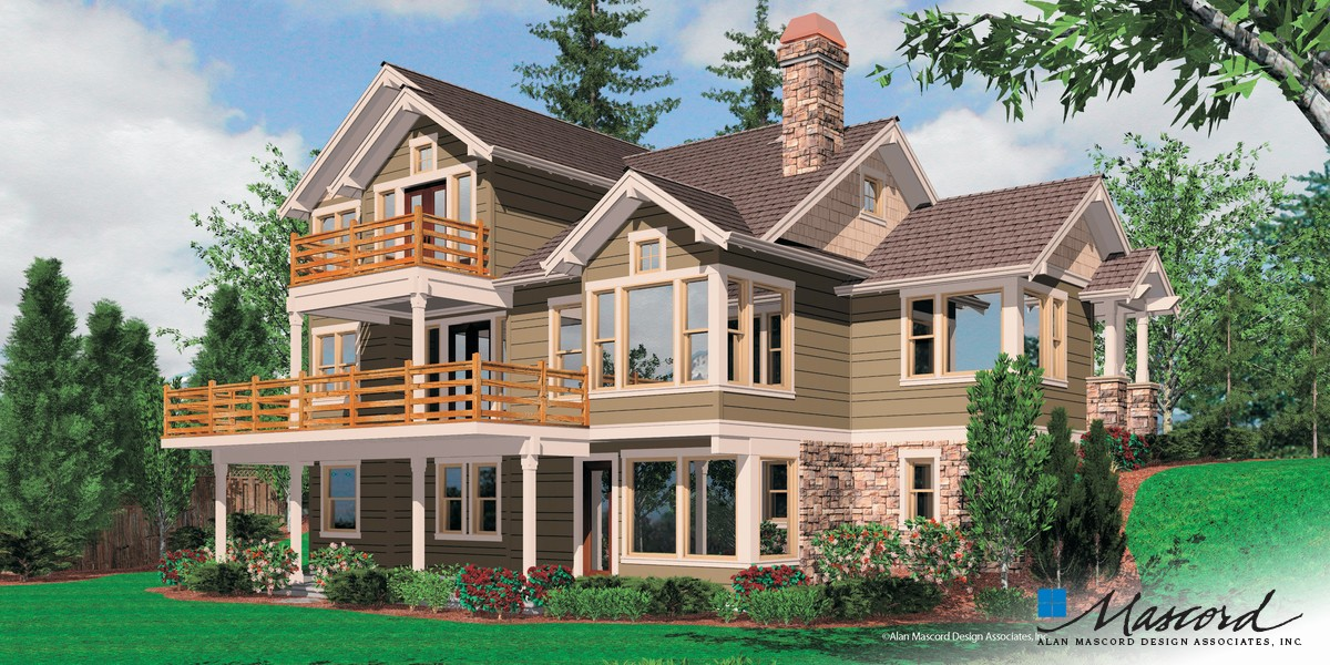 Image for Clearfield-Sloped lot daylight Craftsman-Rear Rendering