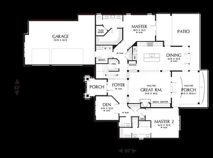 Image for Vidabelo-Elegant Craftsman with Double Master Suites-Main Floor Plan