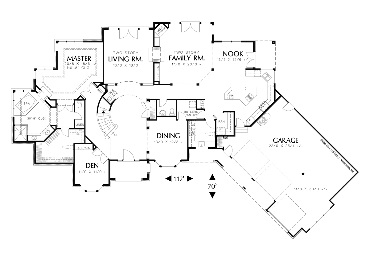 Traditional house plan 2406 the holloway 4211 sqft 4 for Curved staircase floor plans