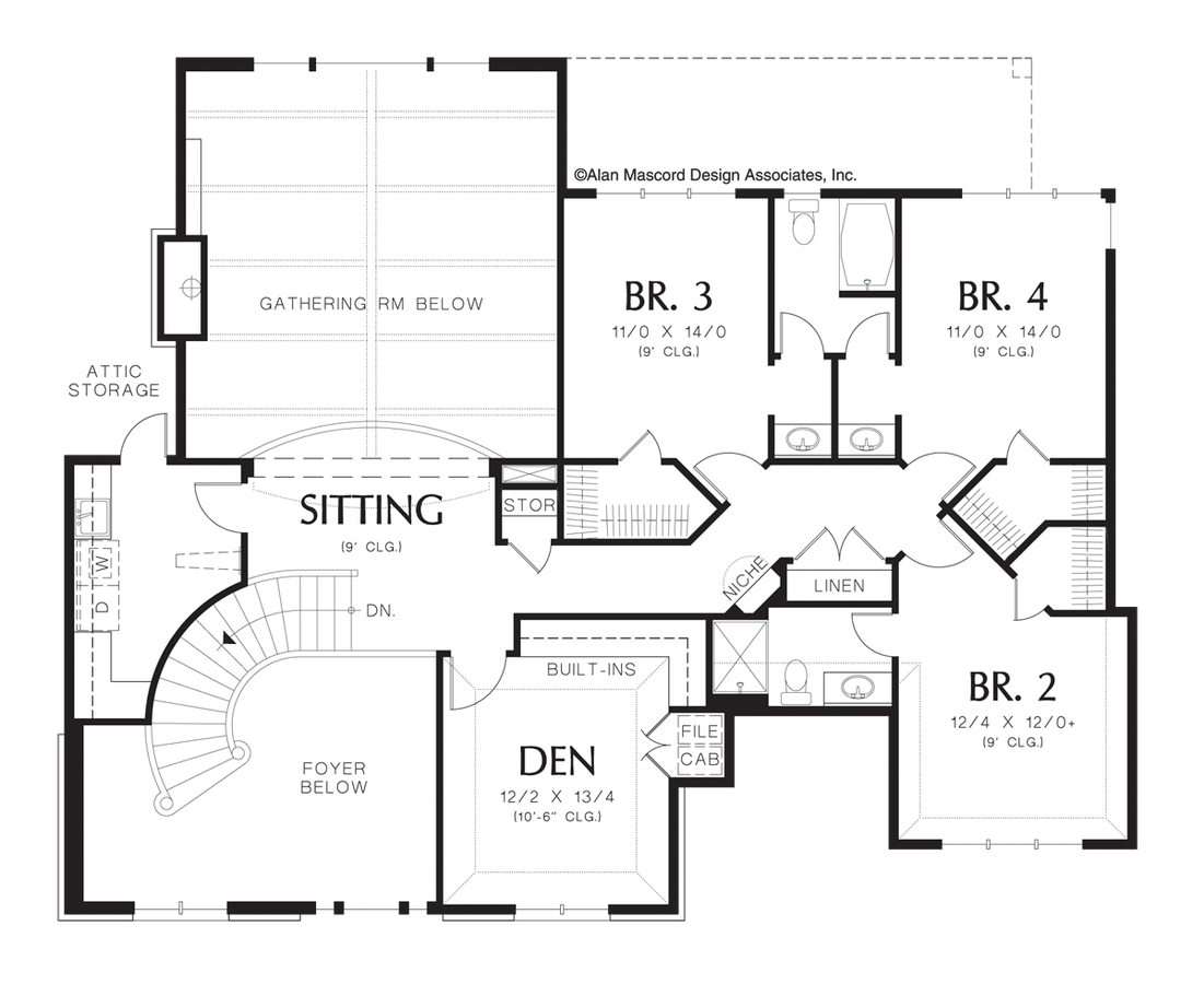 European house plan 2428 the marigold 4064 sqft 4 for Curved staircase floor plans