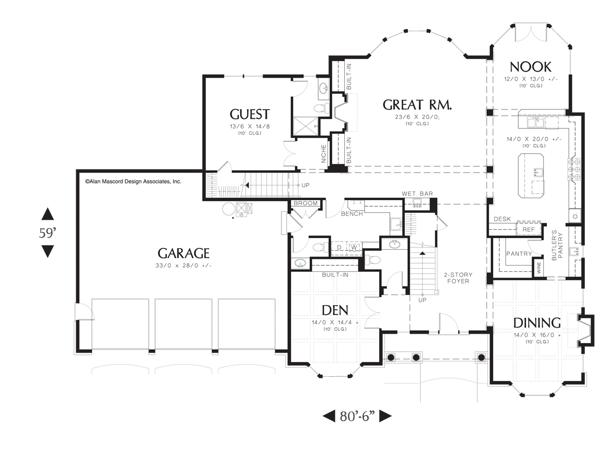 mascord house plan 2439 the harwood image for harwood french country plan with fireplace in living and dining main floor