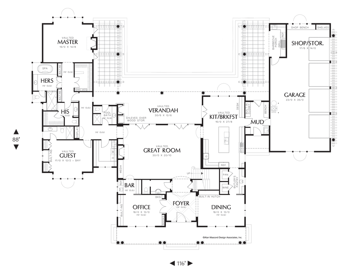 Awesome Mascord Floor Plans Part - 10: Image For Seligman-Master Suite Features His And Hers Bathrooms-Main Floor  Plan