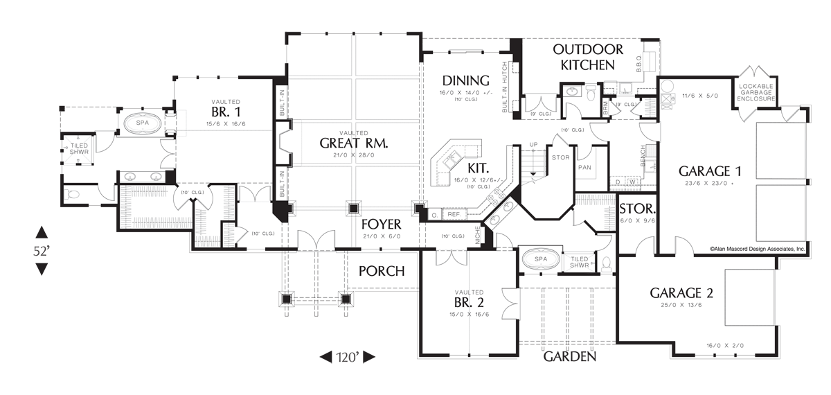 Craftsman house plan 2444 the breckenridge 4122 sqft 5 for Outdoor kitchen floor plans
