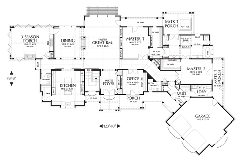 Image for Hendrick-Beautiful Mountain Ranch with Great Outdoor Connection-Main Floor Plan