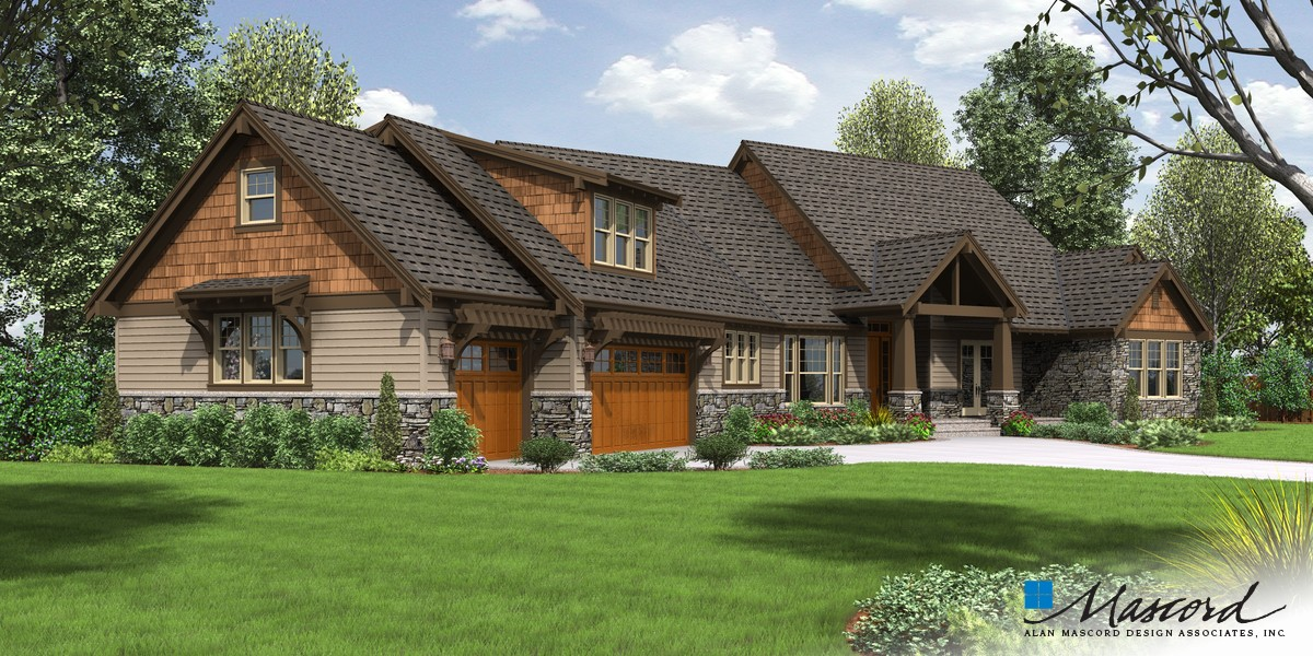 Image for Braecroft-Picturesque Lodge Home Plan with Space for Work and Play-Front Rendering