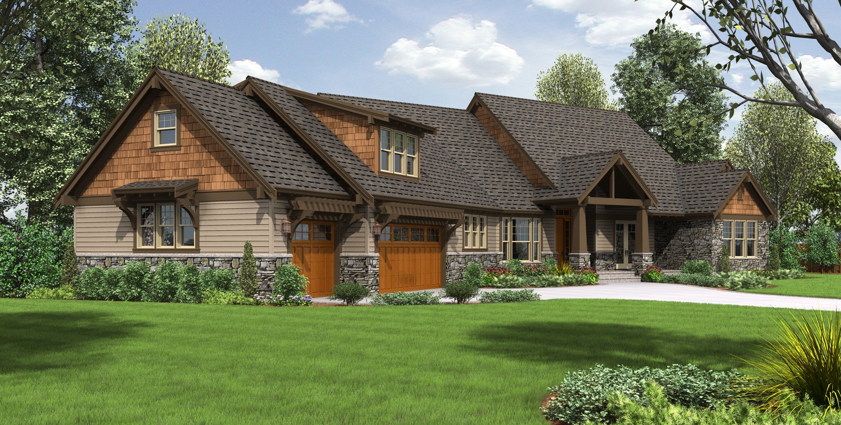 Image for Braecroft-Picturesque Lodge Home Plan with Space for Work and Play-6388