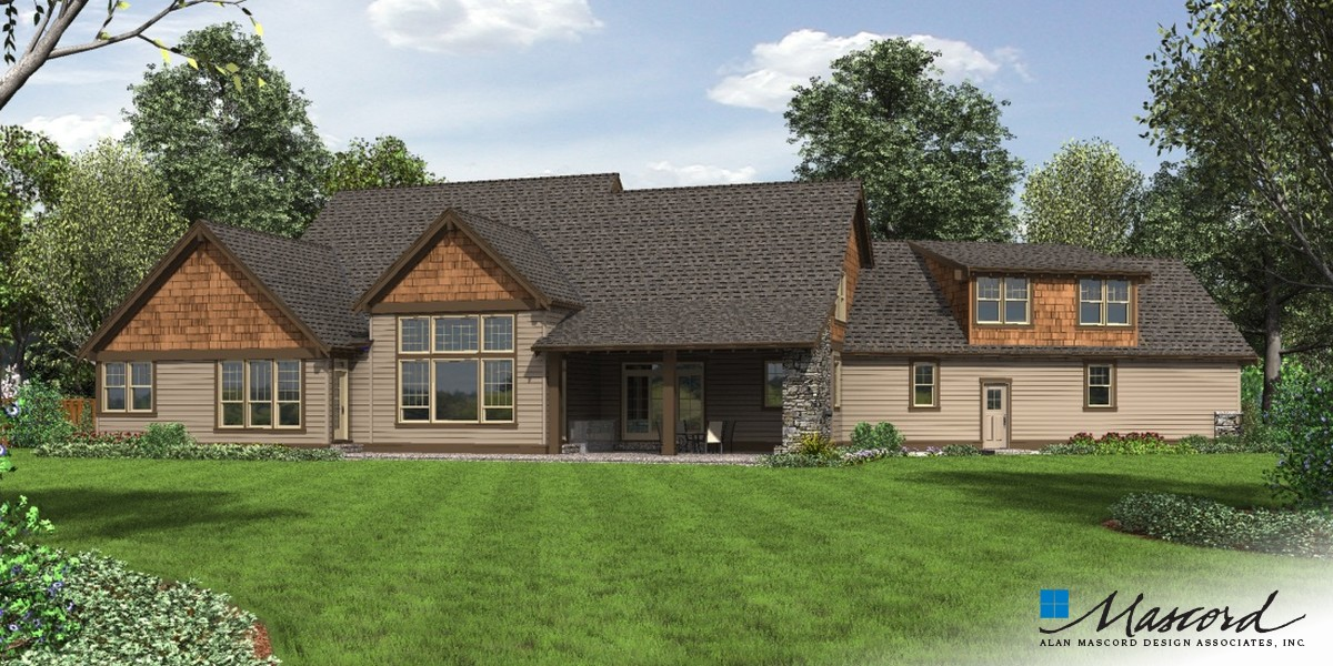 Image for Braecroft-Picturesque Lodge Home Plan with Space for Work and Play-Rear Rendering
