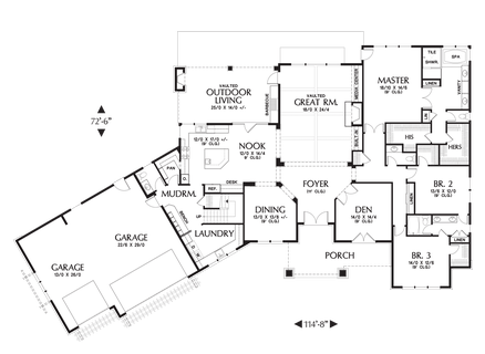 Image for Braecroft-Picturesque Lodge Home Plan with Space for Work and Play-Main Floor Plan