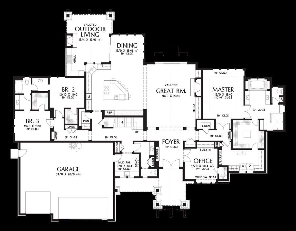 mascord house plan 2477 the millersburg image for millersburg luxurious mountain ranch home main floor plan