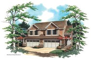Front Rendering of Mascord House Plan 4001 - The Warrenred