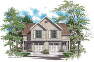 Front Rendering of Mascord House Plan 4002 - The Crownright