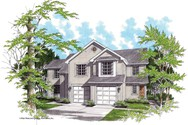 Front Rendering of Mascord House Plan 4015-Unit B - The Birchfield