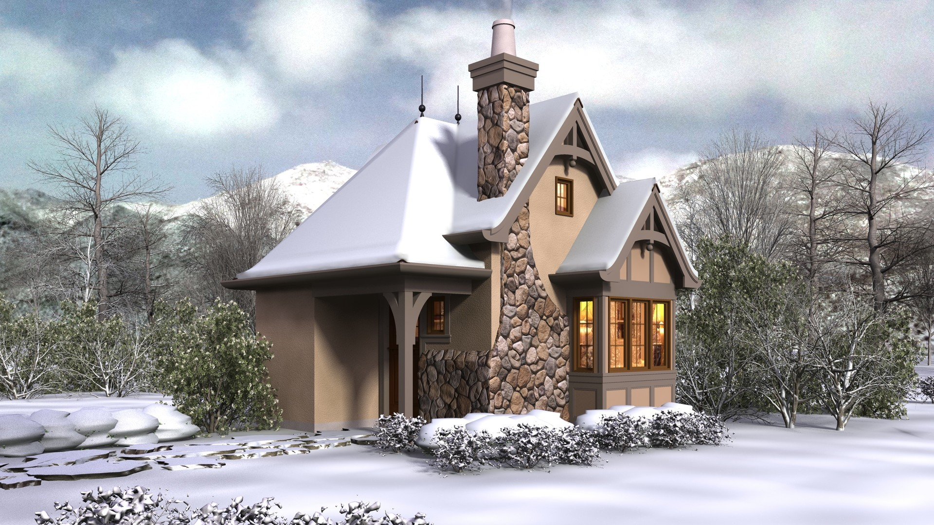 Cottage House Plan 5033 The Bucklebury: 300 Sqft, 0 Beds